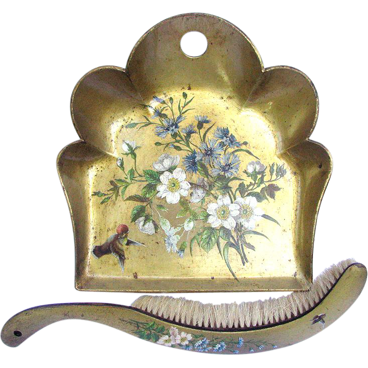 Victorian Papier Mache Tray and Brush -  Gold Leaf Lacquer with Birds and Wild Flowers