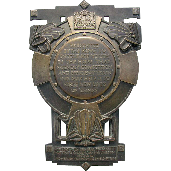 "Imperial Bronze Shield King George V 1928  Art Deco Trophy - Hamilton Cadet Corps - 19"" high"