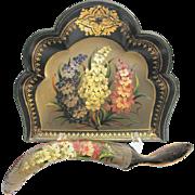 Antique Lacquer Crumber Set - Victorian Handpainted Gilded Papier-Mâché Crumb Set