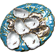 Antique Limoges Turkey Oyster Plate c1880 Aqua Blue