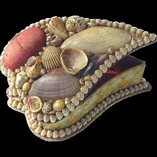Antique Shell Art Pin Cushion Box Dated 1903 Unusual Leaf Shape