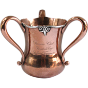 Antique Billiard Trophy Copper & Sterling Passaic Club President's Cup 1902 Presented by Robert Dix Benson, NY