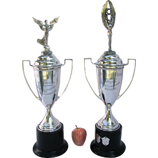 Pair Vintage Silver Shetland Pony Trophies 1958 Large Silver Plated