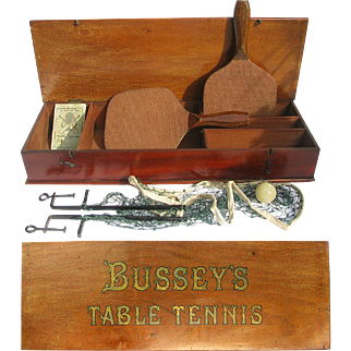 Antique BusseyTable Tennis Set in Fancy Wooden Box - Old Ping Pong Set