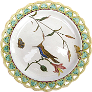 Wedgwood Majolica Plate - Pierced Border - Birds Bugs Butterflies - Dated 1874