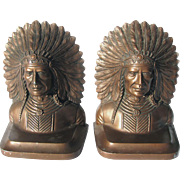 Native American Indian Bookends SACHEM by JB Jennings Brothers c1925