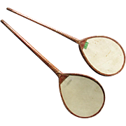 Antique Vellum Badminton Battledores also known as  Shuttlecock Raquets or Ping Pong Paddles
