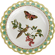 Wedgwood Antique Majolica Plate - Pierced Border - Bird &  Butterfly - Dated 1874