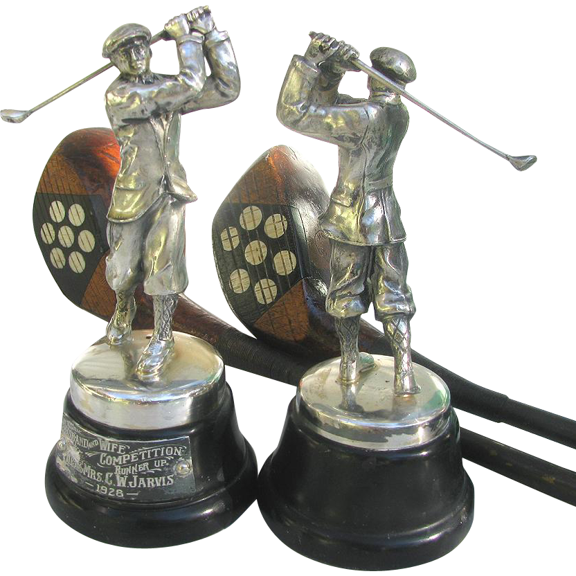 Pair Golf Figural Trophies 1927 Financial Times Trophy - Silver Plated Mini Golf Trophies