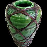 Tiny Awaji Vase c1910 - Emerald Green -  Wicker Weave Overlay