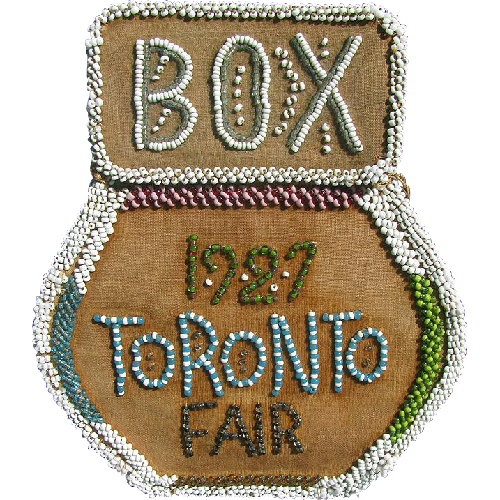 Vintage Iroquois Beaded TORONTO FAIR 1927 Box Purse Souvenir