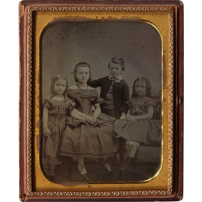 Half Plate 4 Children Ambrotype - 3 Girls and 1 Boy