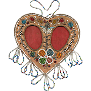 Native American Iroquois Double Heart Beaded Picture Frame