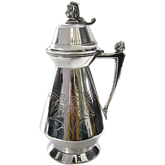 Antique Silver Syrup Pitcher Patent Date 1865 Meriden Silver Plate