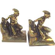 Vintage Native American Bookends INDIAN SCOUT by P.M. Craftsman c1928