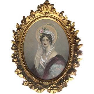 Victorian Engraving Countess of Falmouth Hand-tinted - Ornate Frame