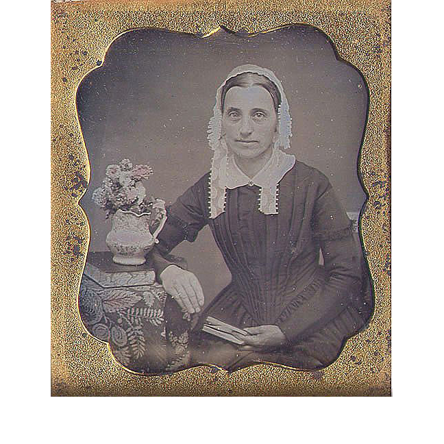 Tinted Daguerreotype Woman in Bonnet w Books & Flowers 6th plate
