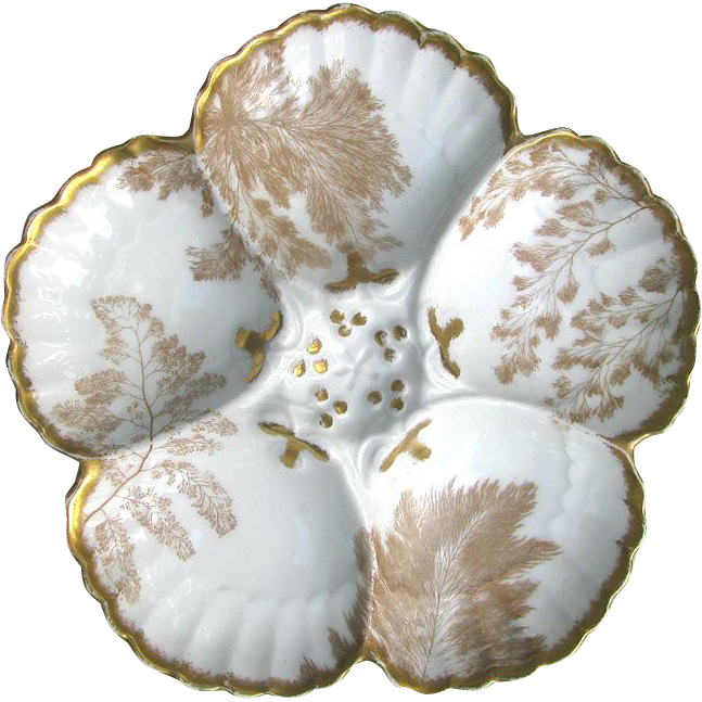 Antique Limoges Oyster Plate by Tressemann and Vogt c1890