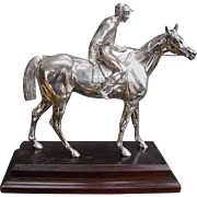 Vintage Silver Figural Race Horse with Jockey Statuette - Thoroughbred Racing Group