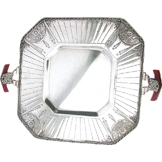Rhombic Art Deco Modernistic Tray Benedict Silver Plate