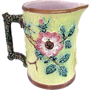 Majolica Wild Rose Pitcher English c1880 Large Size