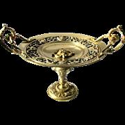 Antique Neo-classical Bronze Tazza Card Tray Roman God Medallion Center