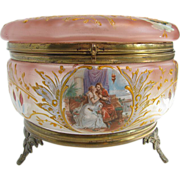 Antique Dresser Jar - Enameled Glass with Richard Wagner Lohengrin Motif