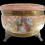 Antique Dresser Jar - Enameled Glass with Richard Wagner Lohengrin Motif