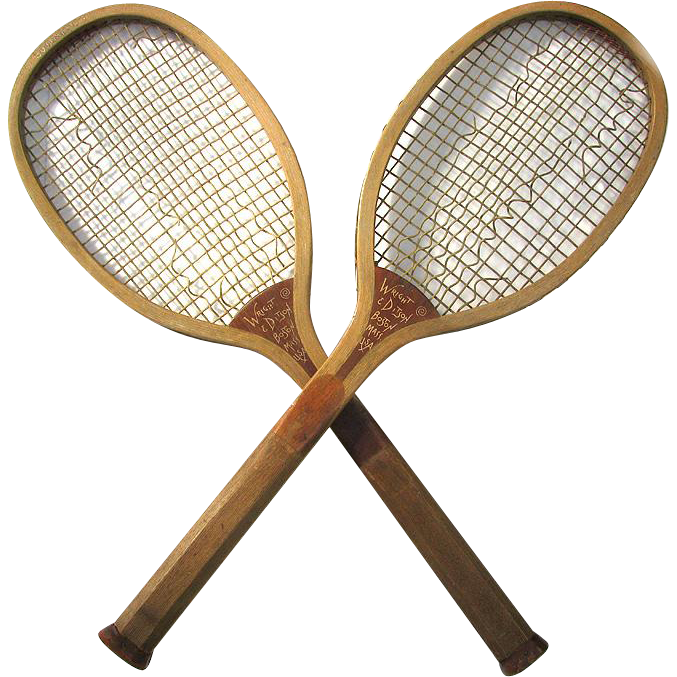 "Pair Antique Tennis Rackets MATCHING Wright and Ditson 1905  ""Country Club"""