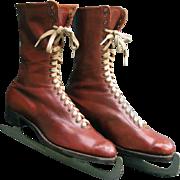 Ladies Ice Skates French c1920 Belgian Blades - Vintage Quality Leather Womans Skates