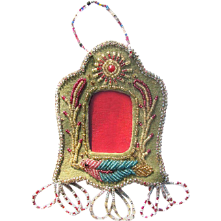 Antique Native Beaded Picture Frame with Bird c1910