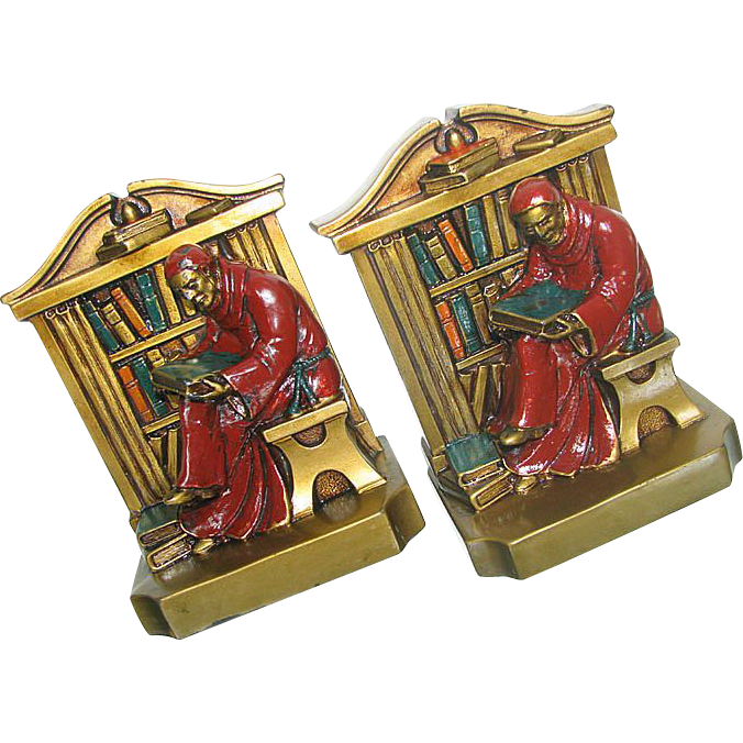 "Ronson Monk Bookends marked ""LV Aronson 1922"" Polychrome"