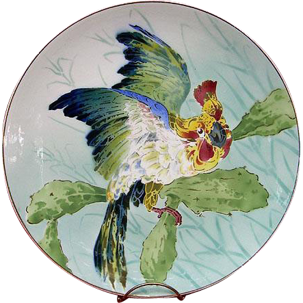 Antique Parrot Cockatoo Charger c1890-1900 Keller and Guerin France