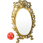 "Art Nouveau Gilded Mirror c1890 Gilded Iron Easel Mirror Poppy Motif 16 1/2"" high"