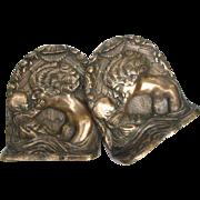 Vintage Bronze Bookends Mother and Child Art Nouveau