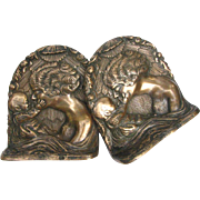 Vintage Bronze Bookends Mother and Child Art Nouveau