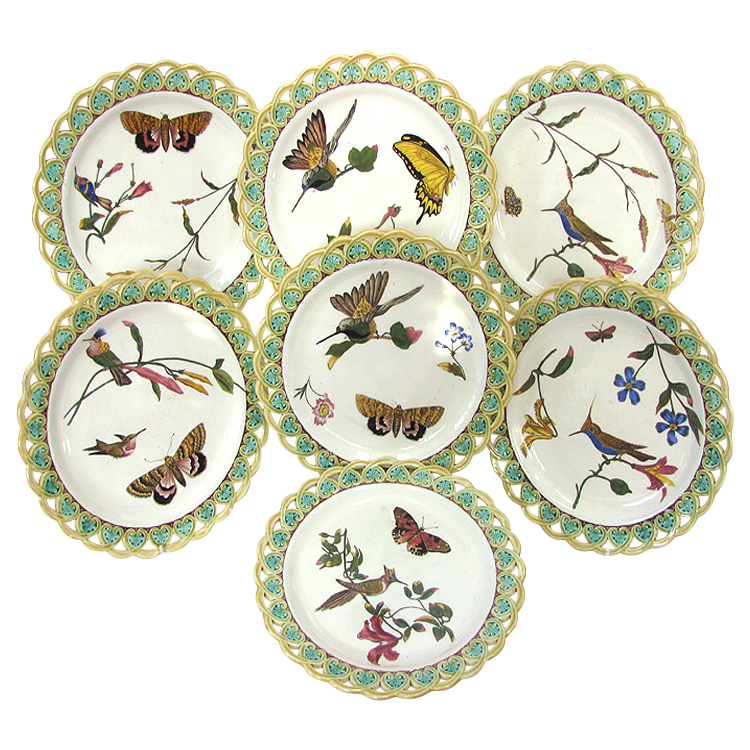 7 Wedgwood Majolica Pierced Plates - Birds Bugs Butterflies - Dated 1874