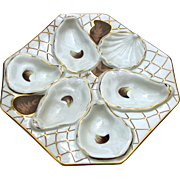 Quality Antique Porcelain Oyster Plate c1890 5 Well