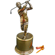Fine Figural Golf Trophy - Small Class Act - 1939 Burns & Co. Golf Tournament