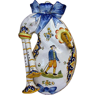 Large Antique Quimper Wall Pocket French Faience Pottery Bagpipe motif