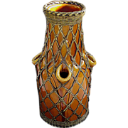 Awaji Bronze Weave Overlay Vase c1920 - Rich Butterscotch Glaze - Unusual Form