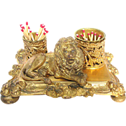 Gilded Lion Match Holder Art Nouveau Figural Lion