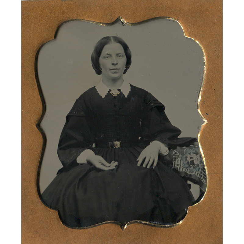 Elegant Lady Ambrotype 6th Plate in full Leather Case