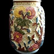 "Art Pottery Majolica Vase H J Woods ""Indian Tree"" Pattern Vintage"