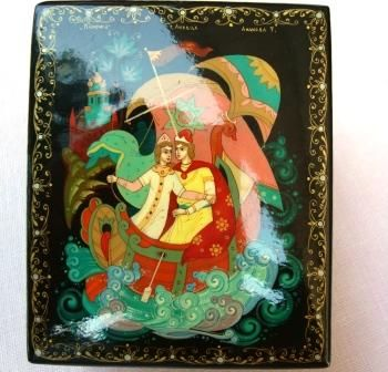 Vintage Russian Hand Painted Lacquer Box - Lipetsk School - Artist Signed