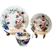c1820 Georgian Regency Cup Saucer and Plate Trio - Imari Palette - Hand Painted and Gilded