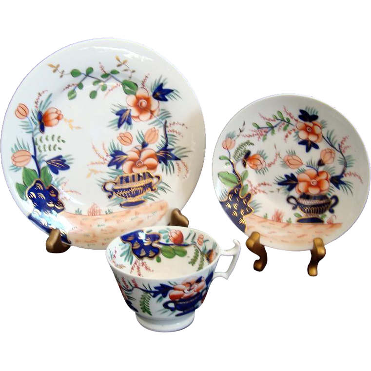 c1820 Georgian Regency Cup Saucer and Plate Trio - Imari Palette - Hand Painted