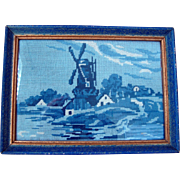 c1930 Framed Petit Point Dutch Windmill Scene - Blue and White