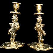 Pair Antique Brass Candleholders/Candlesticks - Storks/Cranes