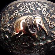 Antique Indian Brass Temple Bowl - Elephants and Deer/Gazelles